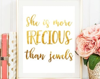 "Printable Art ""She Is More Precious Than Jewels"" Typography Art Print Inspirational Quote Nursery Decor Nursery Art Print Bible Verse Art"