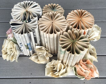 Lot of paper decorations - made from old books- handmade