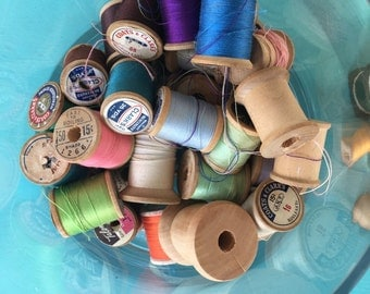 Collection of Vintage Sewing thread - all wooden spools - assorted colors- approx 50 pieces- made in USA