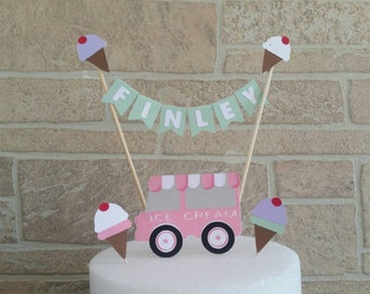 Ice Cream Birthday, Birthday Cake Topper, Ice cream social, Cake Banner, sweet treats, Ice cream party decorations, Girls Birthday party
