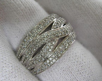 SOLID 925 Sterling Silver Micropave Stone Setting Multistone Wide Ring US Size 6.25 Russian Ukrainian sz 16.75 White Rhodium Plated