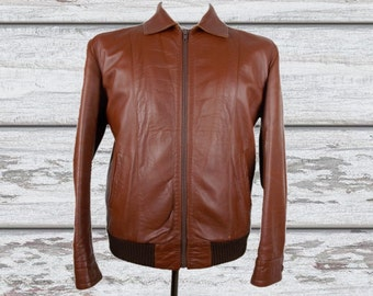 """Vintage 1970s Brown Real Leather Bomber Jacket Zip Front M 38"""""""