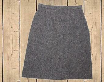Vintage Clan Royal Scotland Pure Wool Grey Tweed Skirt UK 18