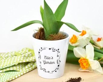Personalised Plant Pot - Ceramic planter - Gardener Gift - Gardening - Herb Garden - Spring Home Decor - Children's Gifts [GDN-003]