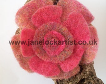 Large Felt Flower Brooch - Bright Red / Pink