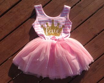 Pink Fifth Birthday Princess Dress