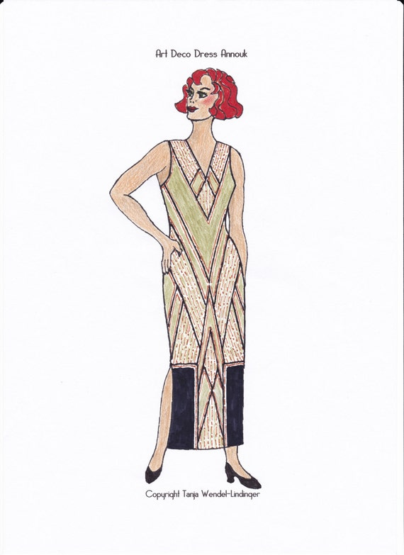 1920s Patterns – Vintage, Reproduction Sewing Patterns Art Deco Dress Annouk - PDF Sewing Pattern Size US14/UK18/DE44 $16.37 AT vintagedancer.com