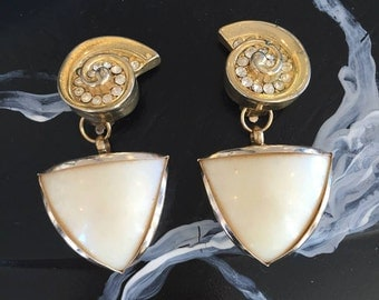 cream and gold earrings made from vintage parts