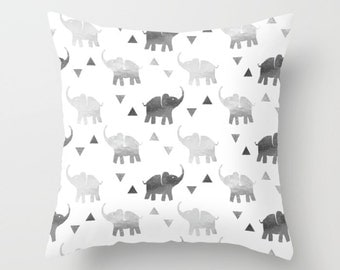 Throw Pillow - Elephants & Triangles Print - Silver - Square Cover 16x16 18x18 20x20 24x24 - Insert Optional
