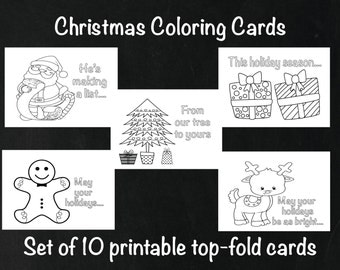 Christmas Coloring Cards, Kids Holiday Cards, Christmas Activity Cards, Holiday coloring, Top fold christmas card set, color your own cards
