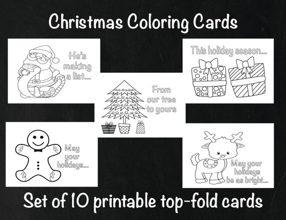 christmas coloring cards kids holiday cards christmas activity cards holiday coloring top fold christmas card set color your own cards - Cards For Kids To Color