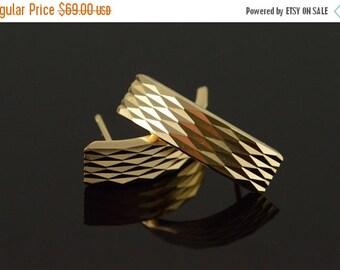 1 Day Sale 14K J' Hoop Geometric Design Earrings Yellow Gold