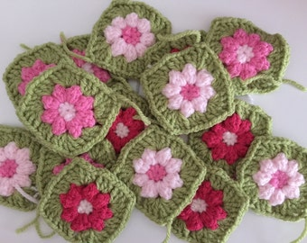 40 x Crochet Granny Squares, Hand made, make your own cushion/pillow, vintage style