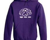 ADULT Alzheimer's Hooded Sweatshirt - Unisex Crew Hoodie - Hope Love Cure - Brain - Purple Ribbon