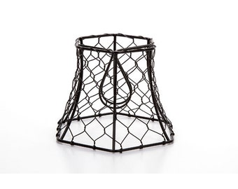 Cleveland Vintage Lighting™ Chicken Wire Clip-on Shade - Hexagonal - Black - 5.75 x 5 x 4 inches   CLE30398A