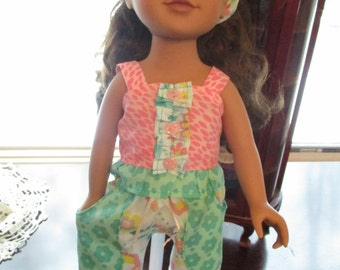 """Ruffly Aqua & Pink 18"""" Doll Pajamas to fit your 18"""" Journey Girl Doll!"""