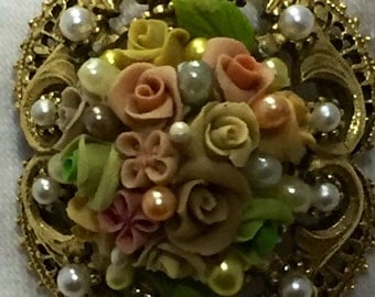 Florenza porcelain rose brooch with faux pearls