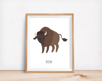 Bison Print, Digital Poster, Children's Wall Art, Modern Decor, Animal Illustration, Canada, Nursery, Forest, Baby Room