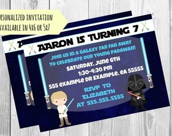 Star Wars Inspired Birthday Party Invitation - Luke and Darth Vader Invite