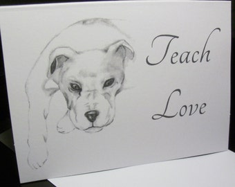 Boxer Dog Teach Love Greeting Cards 6 pk. sets - Boxer Greeting Cards = Boxer Note Cards TLN 2
