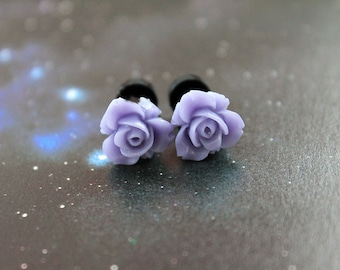 Pretty flowers plugs  gauges 2mm 12G stretched ears lavender purple