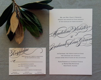 Sample Madeline wedding invitation with bold calligraphy, in black ink