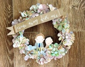Custom Vintage Map Wreath with Hand-Painted Couple Portrait
