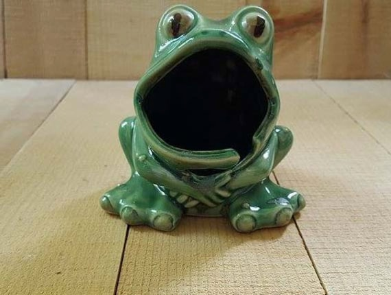 Ceramic frog kitchen scrubby sponge holder w ring keeper - Frog sponge holder kitchen sink ...