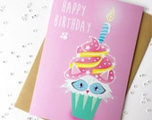 Cute birthday card for mum, sister, daughter, friend, cat lover. 'Cup cats'