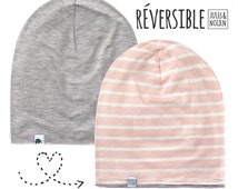Spring/Fall slouchy beanie reversible- Grey / Pink stripes