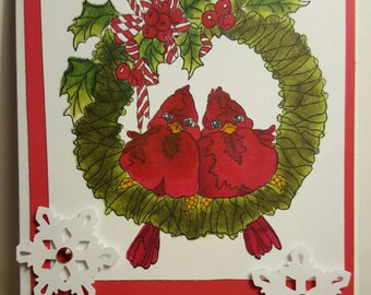 Cute cardinal Christmas card