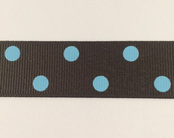 7/8 Inch Brown and Blue Dippy Dot Grosgrain Ribbon