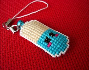 Cross stitch phone charm - kawaii pill, gift for teens, cute keychain, kawaii charm, cute phone dangle, Dust Plug, Earphone Plug