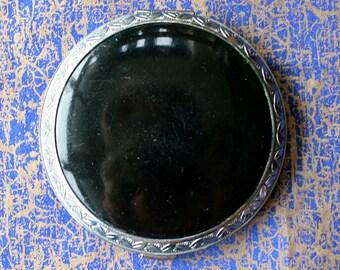 Vintage Evans USA Black and Silver Enamel Compact