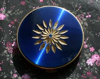 Vintage Blue Enamel Diamond Cut Star Burst Powder Compact 1960s