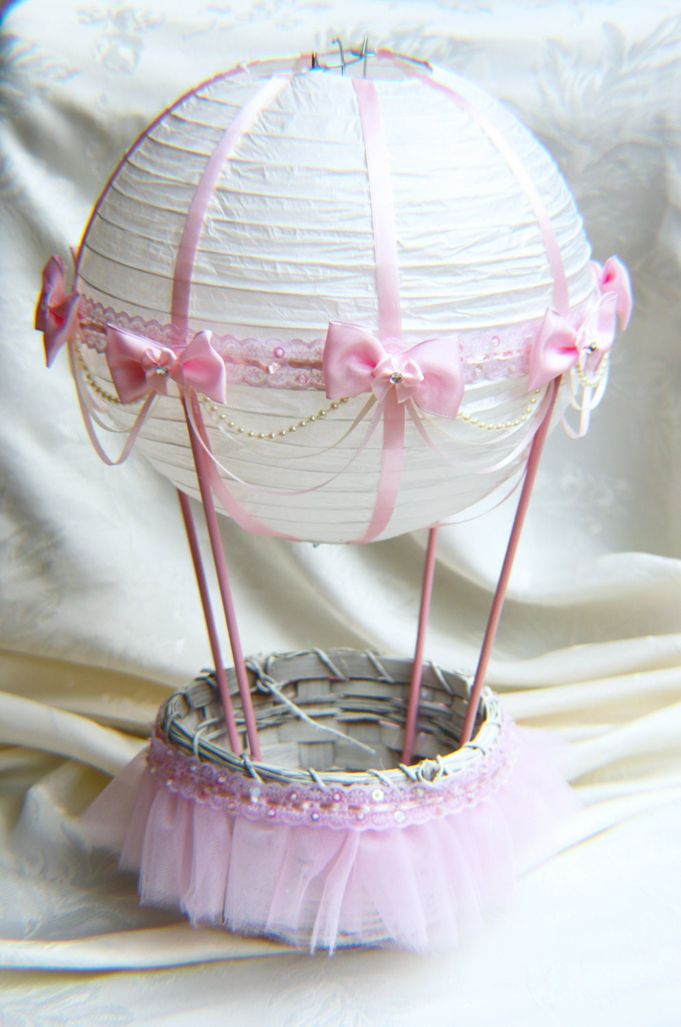 Hot air balloon baby shower table centerpiece ivory and pink
