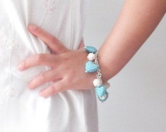 Child bracelet, bracelet, jewellery, girl, children, little girl, charm bracelet, pretty, love hearts, blue, shambala, flower girl, sparkle