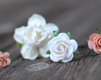 Peach White Flower Hair Bobby Pins Bridal Hair Pins Bridesmaid Hair Accessories