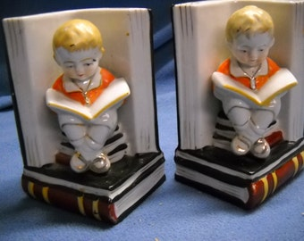 "Vintage Ceramic Bookends Adorable Boy on Stack of Books Probaby 1940s 5"" Tall"