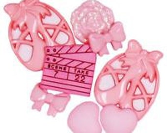 SET of 9 Pink Ballet Buttons and Embellishments Collection Shank/ Hoop Buttons/ flatbacks