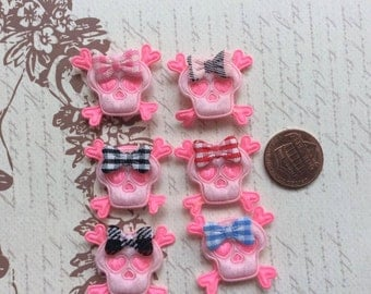6 Unique Padded 2 Shades of Pink Felt Skull Appliques with Bow