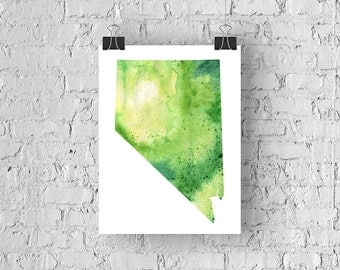 Nevada Watercolor Map - Giclée Print of Hand Painted Original Art - 5 Colors to Choose From