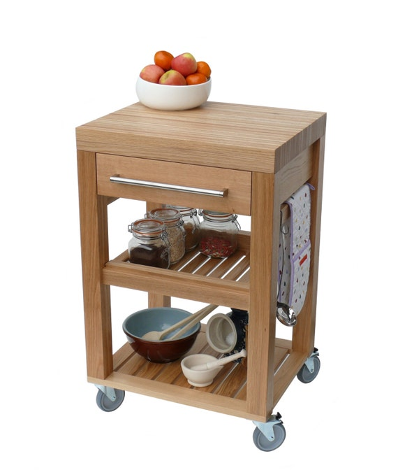 kitchen trolley butchers block trolley solid oak by