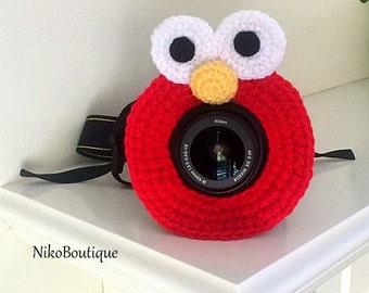 Crochet Elmo lens critter, camera buddies, camera lens buddy, toys, photographer helper.