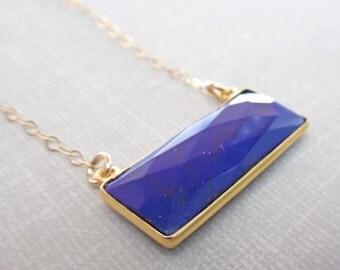 Lapis Lazuli Bar Necklace / Gold and Lapis Bar/ Natural Stone Necklace / /Blue Gold Stone Bar / Lapis Lazuli Bezel// BE22
