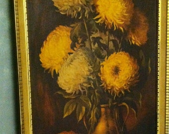 Vintage Painting/Print Crest-Art TP P400-1 Y2431-19 Golden Mums Made in USA Lee 28x40