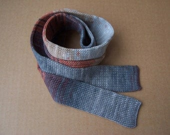 knit skinny gradient ashes gray and rust colors OOAK cotton necktie