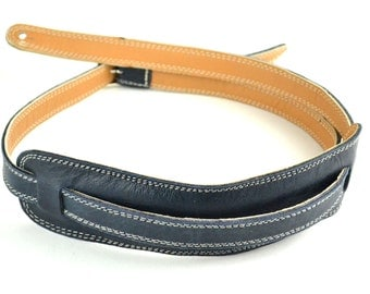 Blue Leather Guitar Strap, Handmade 1950's Vintage Style, For Electric & Bass Guitars  A5-318-1C