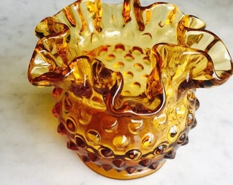 Vintage Fenton Glass /Vintage Amber Fenton Hobnail Glass/ Fenton Vase/ Fenton Glassware