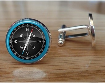Compass Cufflinks - Go in the Direction of Your Dreams - Compass Cuff Links -  Men's Graduation Gift - Boy Graduate Accessory